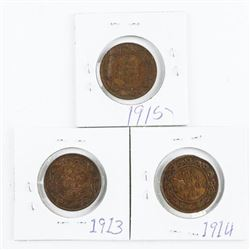 Lot (3) Canada Large Cent: 1913-1914-1915