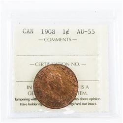 1908 Canada Large Cent AU55. ICCS.