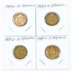Lot (4) 1949 10 PFENNIG (D) (F) (G) (J) (SKR)