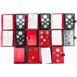 Group of (8) RCM Prestige Coin Sets Leather Case.