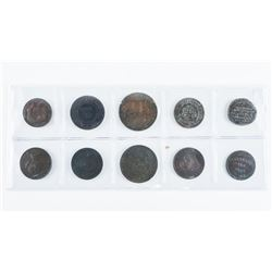 Group of (10) Colonial Tokens, 1800s