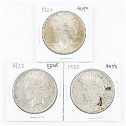Lot (3) USA Silver Peace Dollars: 1922, 1923, 1924