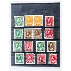 Group of (16) Canada Postage Stamps: 1 cent, 2 cen