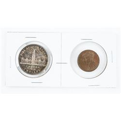 1939 Canada Silver Dollar and Bronze Medal 'First