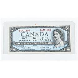 Bank of Canada 1954 5.00 Modified Portrait B/R (WS