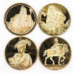Lot (4) 24kt Gold Over .925 Sterling Silver Artist