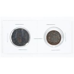 Lot (2) USA Large Cent and 2 Cent: 1847 and 1864