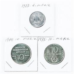 Lot (3) 1973 - 1974- 1975 1 Mark and 2x 10 Mark Co