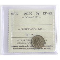 NFLD 1919C 5 Cents EF45. ICCS.