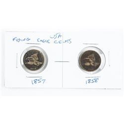 Lot (2) US Flying Eagle Cents: 1857 and 1858