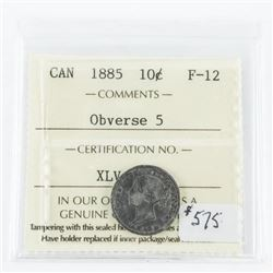 Canada 1885 Silver 10 Cent. F-12. ICCS (EIE)