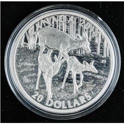 .9999 Fine Silver $20.00 Coin 'White Tailed Deer'