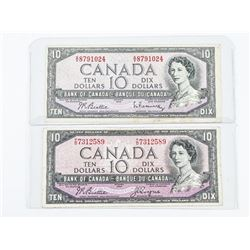 Pair of Bank of Canada 1954 10.00 Modified Portrai