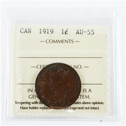 1919 Canada 'George' Large Cent Coin AU55. ICCS.