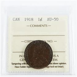 1918 Canada 'George' Large Cent Coin AU50. ICCS.