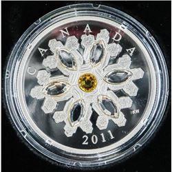 .9999 Fine Silver $20.00 Coin 'Topaz Crystal Snowf