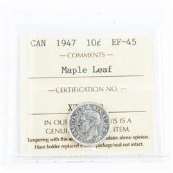 1947 Canada 10 Cent EF45. Maple Leaf . ICCS