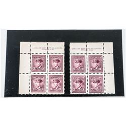 Canada 2 Blocks x 4 3 Cent Stamps CAT 60.00 No. 26