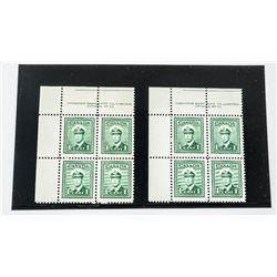 Canada 2 Blocks x 4 1 Cent Stamps CAT 60.00 No. 26