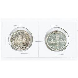 Lot (2) 1957 CAD Silver Dollars (1WL) and (REG WL)