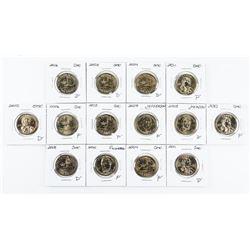 Lot (14) USA Presidential Dollar Coins