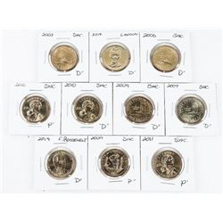 Group of (10) USA 'Presidential Dollars'