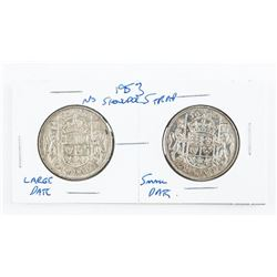Pair 1953 Canada Silver 50 Cents NSS, Large Date,