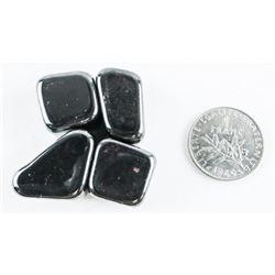 Lot (4) Magnetic Hematite Stones plus Coin.