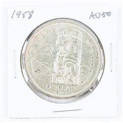 1958 Canada Silver Dollar AU50