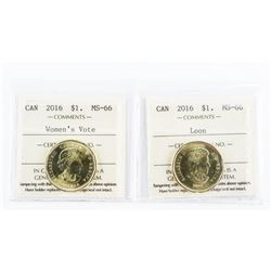 Lot (2) 2016 1.00 Coins Loon and Women's Vote. MS6