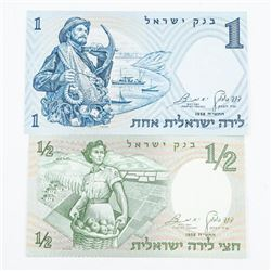 Set Israel - 12 and 1 Lira UNC Numbers 29 and 30A