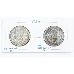 Pair 1950 Canada Silver 50 Cents Design In and No