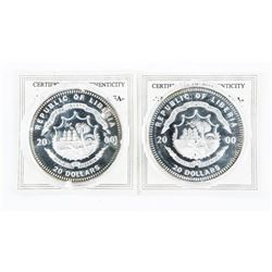 Lot (2) .9999 Fine Silver $20.00 Coins President 1