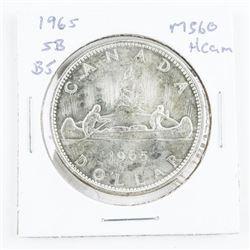 1965 Canada Silver Dollar: SB/B5 MS60 Cameo