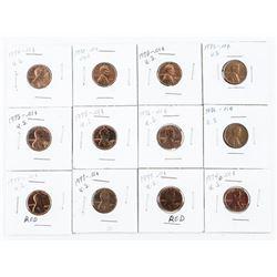 Lot (12) USA Lincoln Cents (IR)