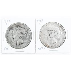 Lot (2) 1922 and 1923 (S) Peace Dollars