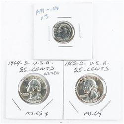 Group (3) USA Coins - 1999 10 Cent, 1962-D 25 cent