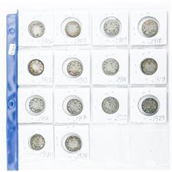 Lot (14) Canada Silver 25 cent - 1902-1936 Era