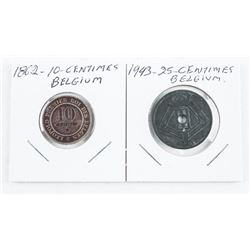 Lot (2) Coins - Belgium 10 and 25 Cent Centimes 18