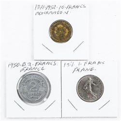 Lot (3) Coins 'France' 1371-1952 10 Francs, Mohamm