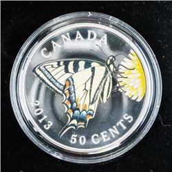 925 Sterling Silver Plated 50 Cent Coin 'Butterfli