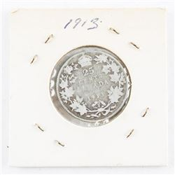 1913 Canada Silver 25 Cents (GR)