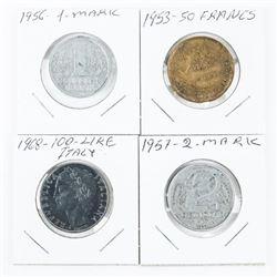 Lot (4) Estate Coins 1957 2 Mark, 1956 1 Mark, 195