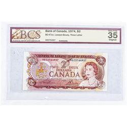 Bank of Canada 1974 2.00 VF35. Original BCS