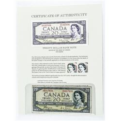 Bank of Canada 1954 20.00 Note Devil's Face.
