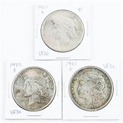 Group (3) USA Silver Dollars: 1921, 1922, 1923 (S)