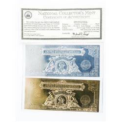 Lot (2) 24kt Gold Foil Proof Silver Cert and .999