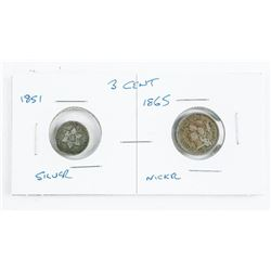 Lot (2) USA 3 Cent Coins - 1851 Silver and 1865 Ni