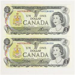 (2) x Bank of Canada 1973 1.00 (AAX) 'Crow-Bouey'
