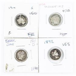 Lot (4) Silver Barber Dimes USA